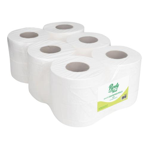 Purely Kind Centrefeed Rolls 2ply 100m FSC White Pack 6 PK1210