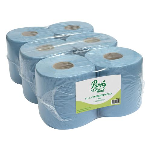 Purely Kind Centrefeed Rolls 2ply 100m FSC Blue Pack 6 PK1211