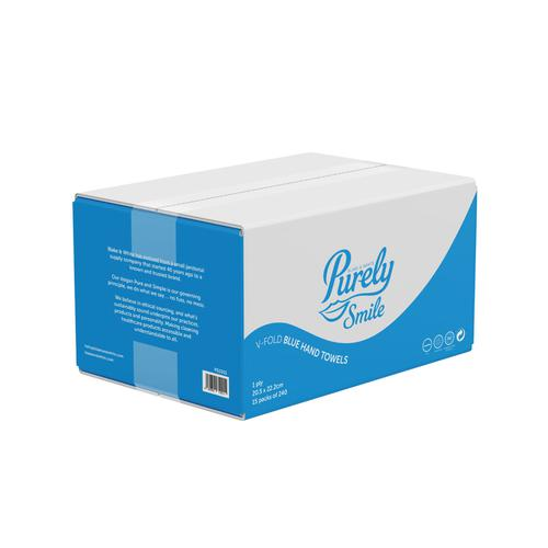 ValueX Hand Towels V Fold 1 Ply 100% Recycled Blue (Case 3600) PS1011