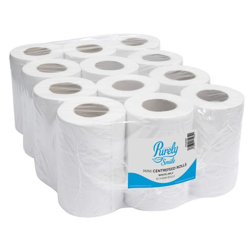 ValueX Mini Centre Feed Roll 2 Ply 60m White Pack 12 PS1204