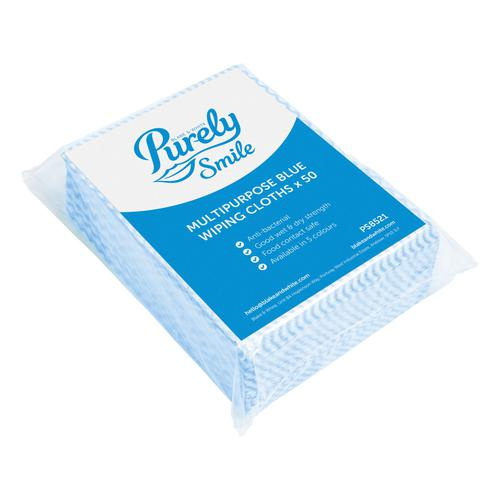 Purely Smile Multipurpose Wiping Cloths Blue Pack 50