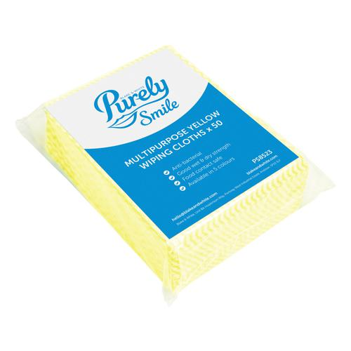 Purely Smile Multipurpose Wiping Cloths Yell Pack 50