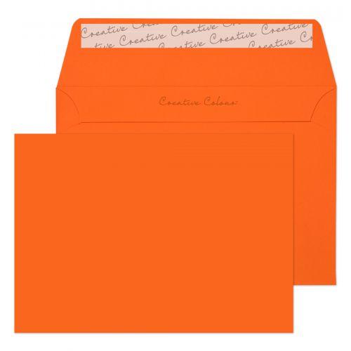 Blake Creative Colour Wallet Peel and Seal Pumpkin Orange C6 114×162mm 120gsm (Pack 25) Code 15105