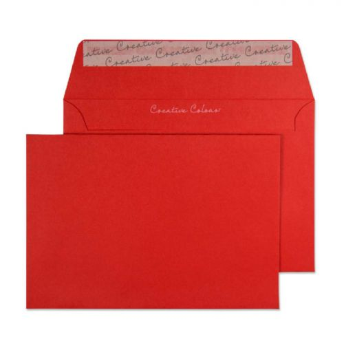 Blake Creative Colour Wallet Peel and Seal Pillar Box Red C6 114×162mm 120gsm (Pack 25) Code 15106