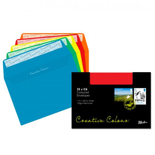 Blake Creative Colour Wallet Peel and Seal Assorted Colours C6 114x162mm 120gsm (Pack 25) Code 15123