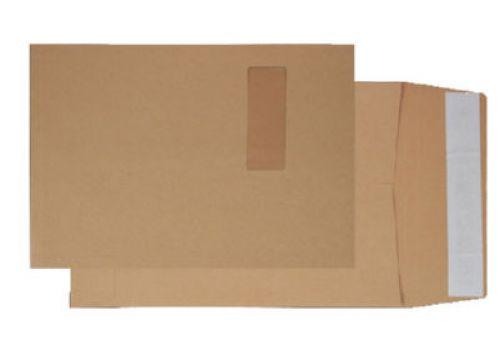 Blake Purely Packaging Pocket Gusset Envelope C4 Peel and Seal Window 25mm Gusset 130gsm Manilla (Pack 125)