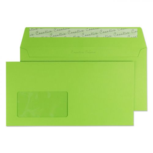 Blake Creative Colour Wallet Peel and Seal Window Lime Green DL+ 114×229mm 120gsm (Pk 500) Code 207W