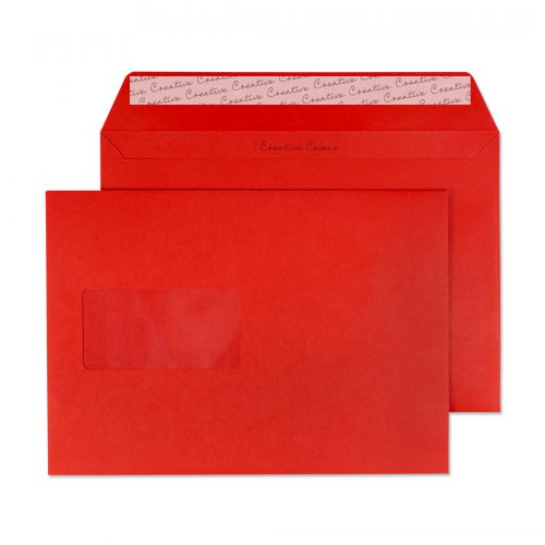 Blake Creative Colour Pillar Box Red Peel and Seal Wallet Window C5 1120gsm (Pack 500) Code 306W