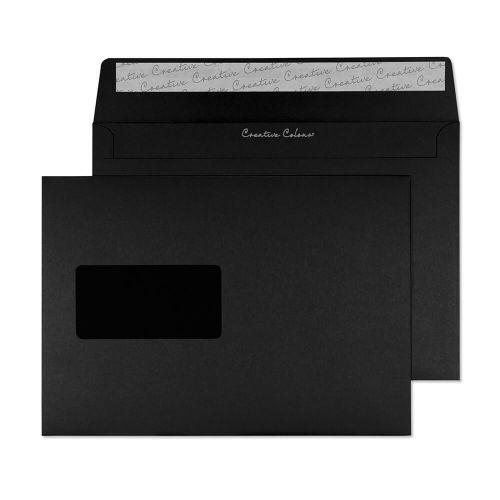 Blake Creative Colour Wallet Peel and Seal Window Jet Black C5 162×229mm 120gsm (Pack 500) Code 314W