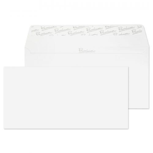Essential DL Ice White Wove Peel & Seal Wallet Envelopes 110x220mm 120gsm (Pack 500) Code 31882