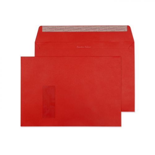 Blake Creative Colour Pillar Box Red Window Peel & Seal Wallet 229X324mm 120G Pk250 Code 406W 3P