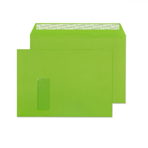 Blake Creative Colour Lime Green Peel and Seal Wallet Window C4 229x324mm 120gsm (Pk 250) Code 407W