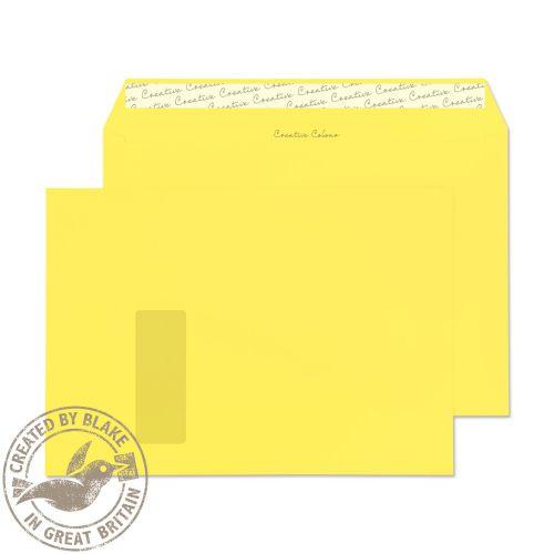 Blake Creative Colour Wallet Peel and Seal Window Lemon Yellow 120gsm C4 229×324 (Pk 250) Code 416W