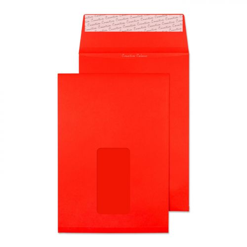 Blake Purely Packaging Gusset Pocket Peel and Seal Window Pillar Box Red C5 140gsm Pk 125 Code 6061W