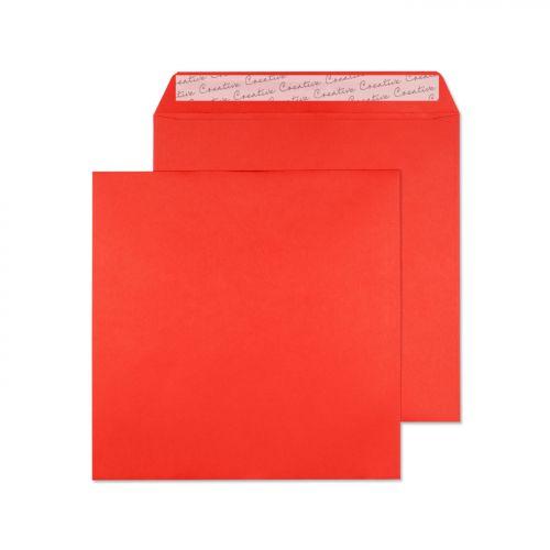 Blake Creative Colour Pillar Box Red Peel & Seal Square Wallet 160X160mm 120Gm2 Pack 500 Code 606 3P