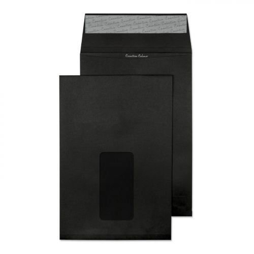 Blake Purely Packaging Gusset Pocket Peel and Seal Window Jet Black C5 140gsm (Pk 125) Code 6141W