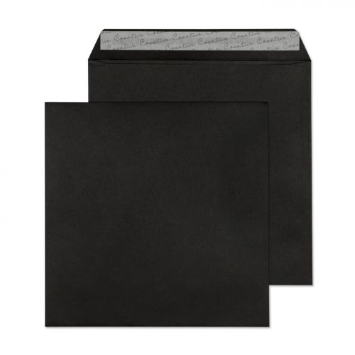 Blake Creative Colour Jet Black Peel & Seal Square  Wallet 160X160mm 120Gm2 Pack 500 Code 614 3P
