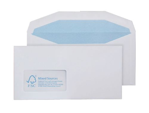 Blake Purely Environmental White Window Gummed Mailer 114X229mm 90Gm2 Pack 1000 Code Fsc374 3P