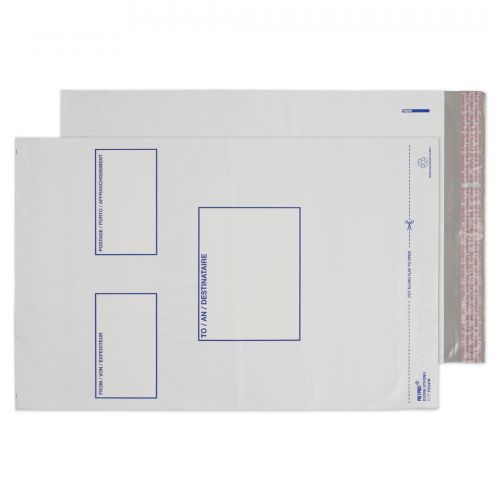 Blake Purely Packaging White Peel & Seal Polythene Pocket 330X460mm 50Mu Pack 500 Code Pe64/W 3P