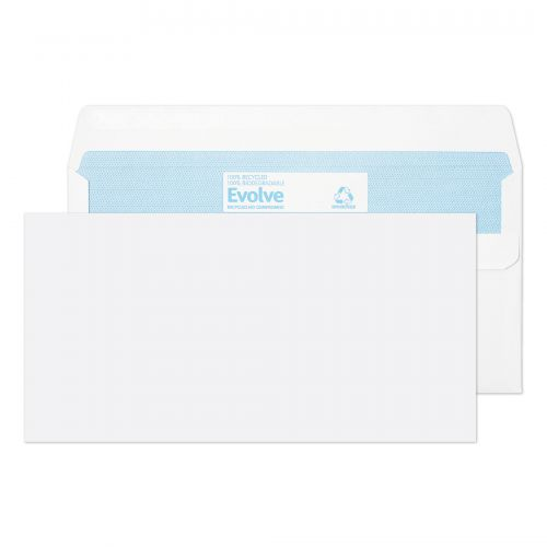 Evolve DL Envelope Recycled Wallet Self Seal 90gsm White (Pack of 1000) RD7882