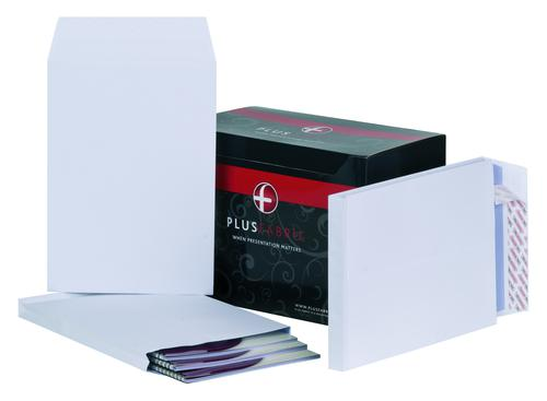 Plus Fabric Pocket Gusset Envelope C4 Peel and Seal Plain Power-Tac 25mm Gusset 120gsm White (Pack 100)