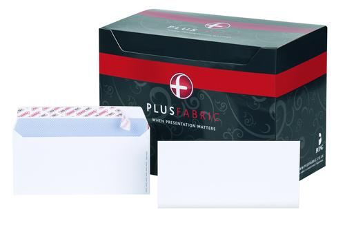 Plus Fabric Wallet Envelope DL Peel and Seal Plain Easy Open Power-Tac 120gsm White (Pack 500)
