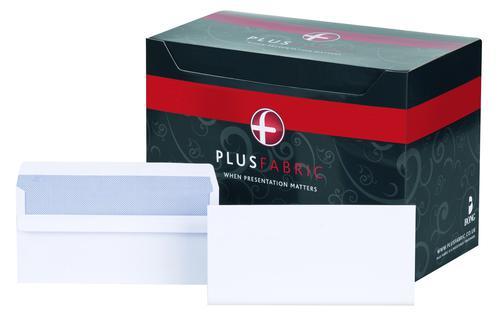 Plus Fabric Wallet Envelope DL Self Seal Plain 120gsm White (Pack 500)