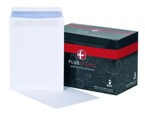 Plus Fabric Pocket Envelope C4 Self Seal Plain 120gsm White (Pack 250)