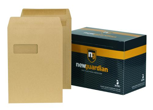 New Guardian Heavyweight Pocket Self Seal Window Manilla C4 PK250