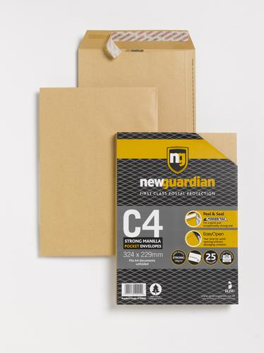 New Guardian Pocket Envelope C4 Peel and Seal Plain Power-Tac Easy Open 130gsm Manilla (Pack 25)