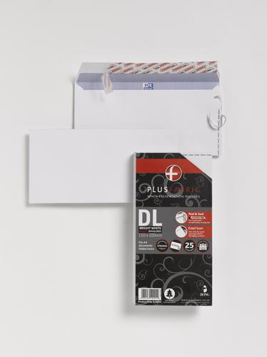 Plus Fabric Wallet Envelope DL Peel and Seal Plain Easy Open Power-Tac 110gsm White (Pack 25)