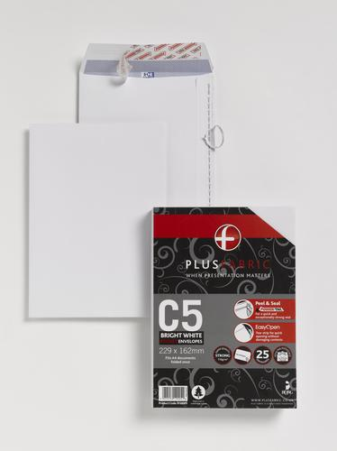 Plus Fabric C5 120 gsm Peel and Seal Envelope White PK25