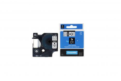 Compatible Dymo 45010 Black on Clear S0720500 Label Cassette