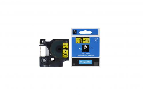Compatible Dymo 45018 Black on Yellow S0720580 Labelling Tape Cassette
