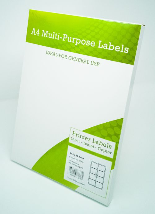 Alpa-Cartridge A4 Multipurpose Labels 8 Per Sheet 99.1 x 67.7mm (White) Pk of 100