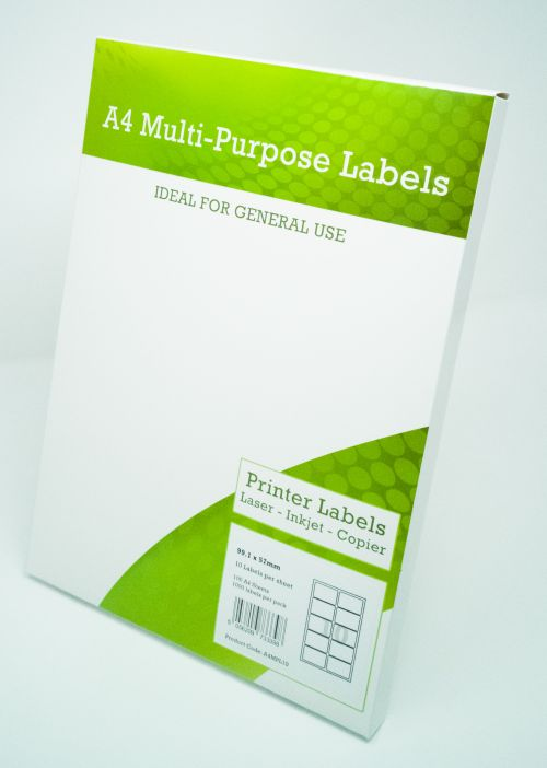 Alpa-Cartridge A4 Multipurpose Labels 10 Per Sheet 99.1 x 57mm (White) Pk of 100