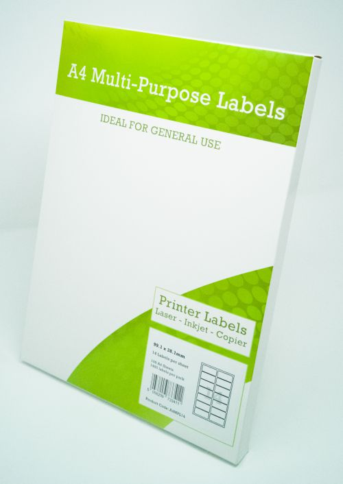 Alpa-Cartridge A4 Multipurpose Labels 14 Per Sheet 99.1 x 38.1mm (White) Pk of 100