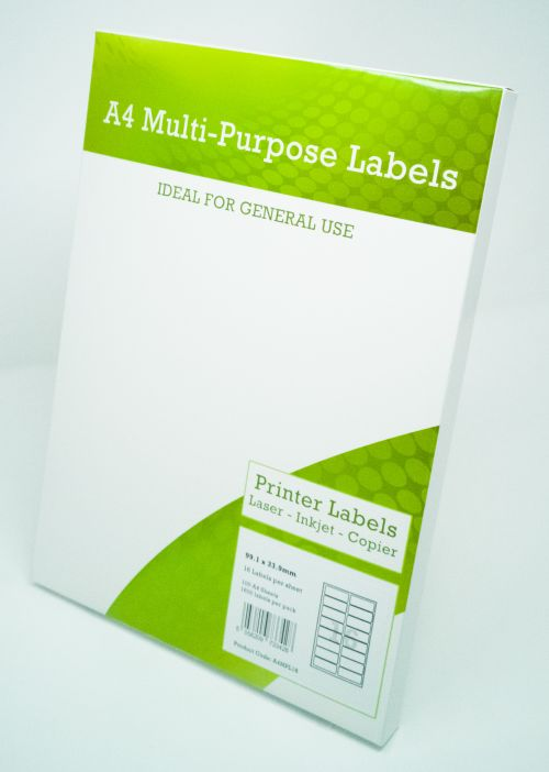 Alpa-Cartridge A4 Multipurpose Labels 16 Per Sheet 99.1 x 34mm (White) Pk of 100
