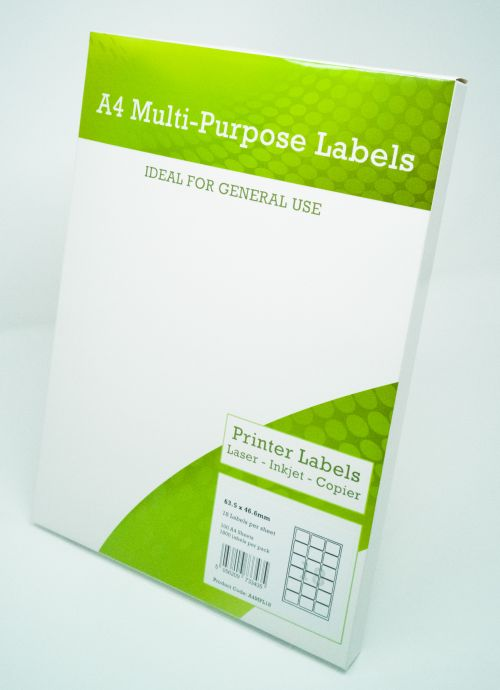Alpa-Cartridge A4 Multipurpose Labels 18 Per Sheet 63.5 x 46.5mm (White) Pk of 100