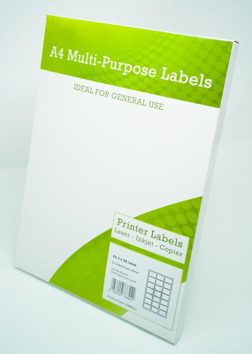 Alpa-Cartridge A4 Multipurpose Labels 21 Per Sheet 63.5 x 38mm (White) Pk of 100
