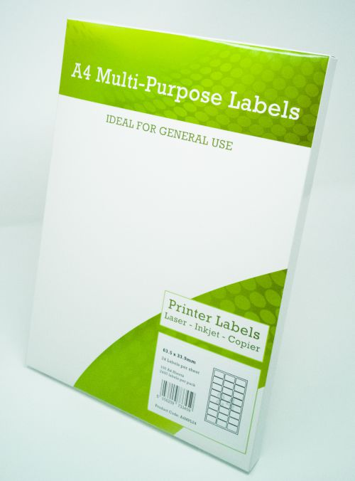 Alpa-Cartridge A4 Multipurpose Labels 24 Per Sheet 64 x 33.9mm (White) Pk of 100