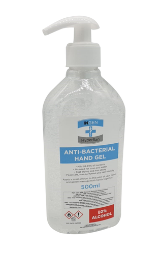 Ingen 500ml Anti-Bacterial Sanitising Hand Gel 80% Alcohol