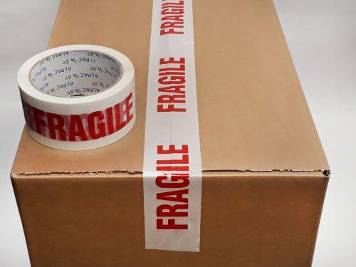 Printed BOPP Tape FRAGILE Red/White 48mm 66m 38mu Pk 6