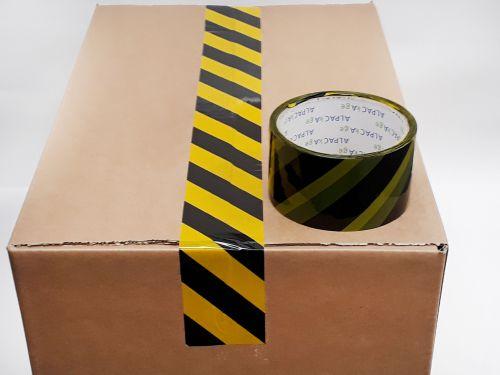 Printed BOPP Tape HAZARD Black/Yellow 50mm 33m 38mu Pk 6