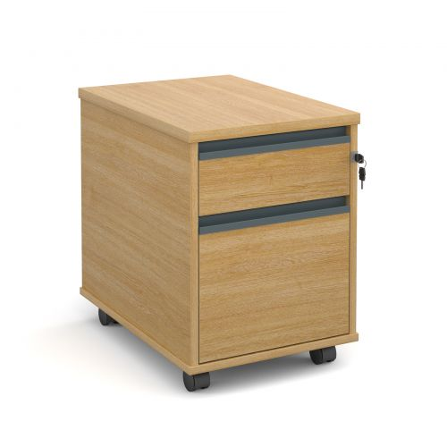 Mobile 2 drawer pedestal with graphite finger pull handles 600mm deep - oak