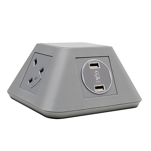 Inca on-surface power module 2 x UK sockets and 2 x twin USB fast charge - grey
