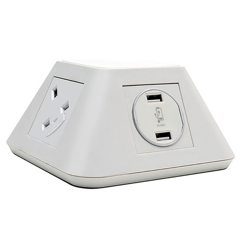 Inca on-surface power module 2 x UK sockets and 2 x twin USB fast charge - white