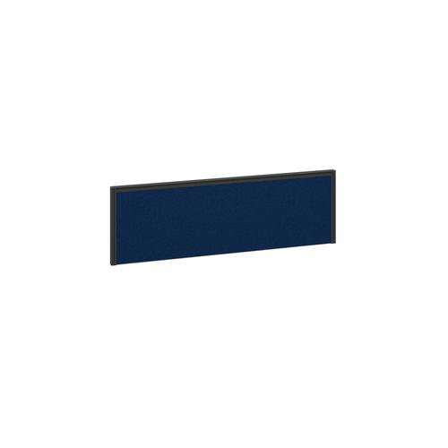 Straight fabric desktop return screen 1185mm x 380mm - blue fabric with black aluminium frame