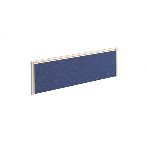Straight fabric desktop screen 1200mm x 380mm - blue fabric with white aluminium frame