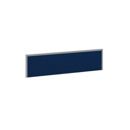 Straight fabric desktop screen 1400mm x 380mm - blue fabric with silver  aluminium frame - Office Monster